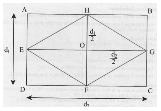 Theory - To show that the Area of Rhombus is half the Product of its Diagonals, Math, Class 9 Class 9 Notes | EduRev
