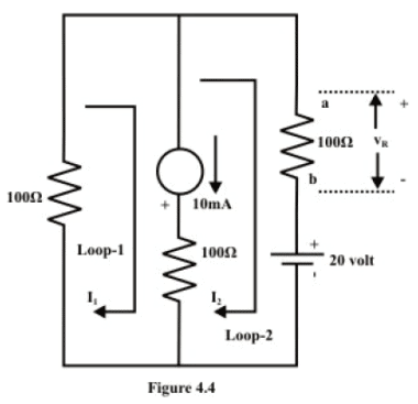 Loop Analysis of resistive circuit in the context of dc voltages and