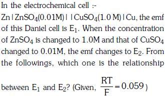 Previous Year Questions (2014-20) - Electrochemistry Class 12 Notes | EduRev