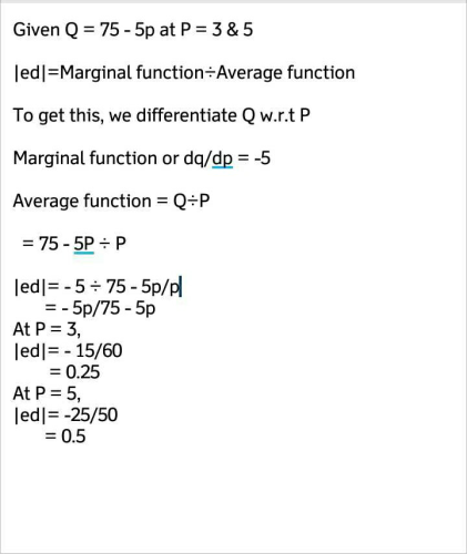 Given The Demand Function Q 75 5p Find The Price Elasticity Of Demand At P 3and P 5 Edurev Economics Question