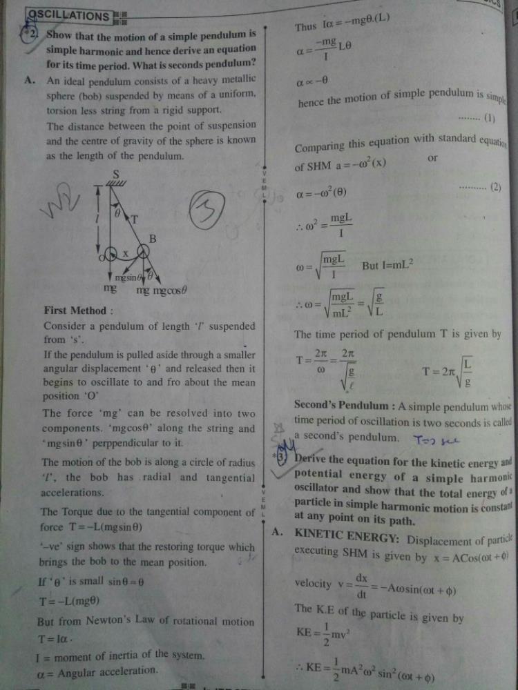 Derivation of simple pendulum in SHM? | EduRev Class 11 Question