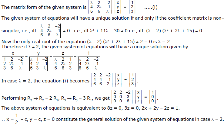 System Of Linear Equations JEE Notes | EduRev