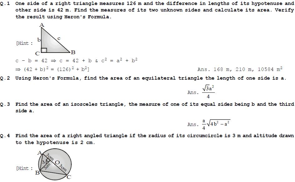 NCERT Exercises - Heron's Formula, Class 9, Mathematics