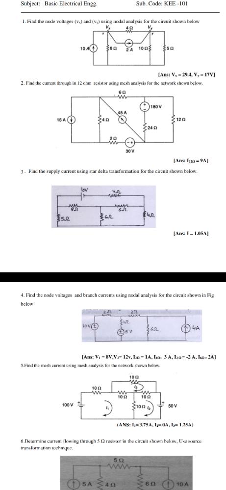 Nodal Analysis and Mesh Analysis Electrical Engineering (EE) Notes   EduRev