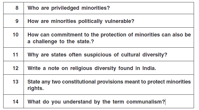 Question for Practice - Challenges of Cultural Diversity Humanities/Arts Notes | EduRev