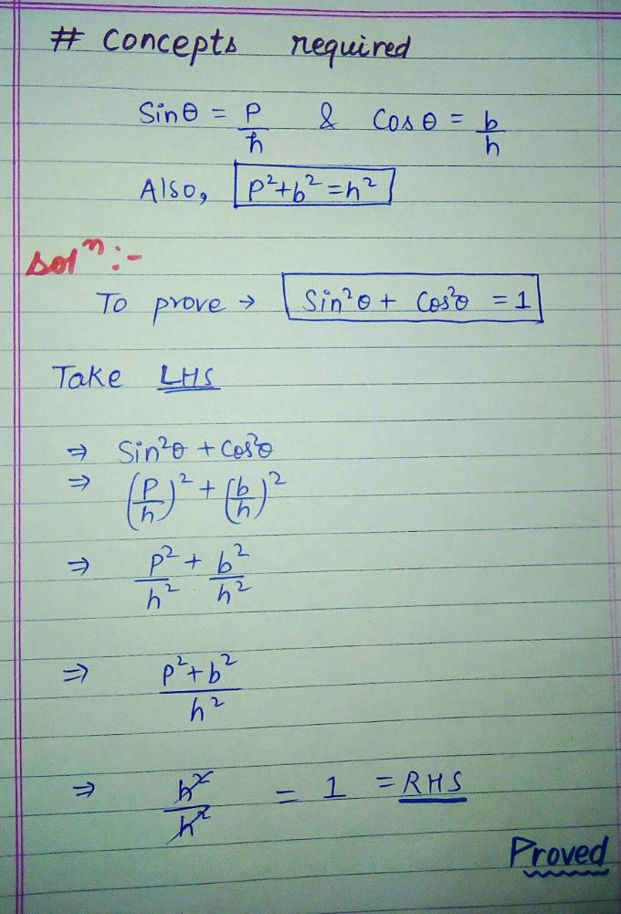 Sin Theta Cos Theta 1 Prove This Pls Edurev Class 10 Question