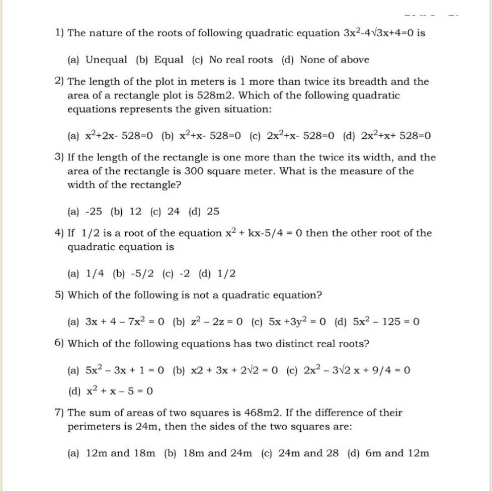 Math: Quadratic equations: Important One mark Questions--Class 10 Class 10 Notes   EduRev