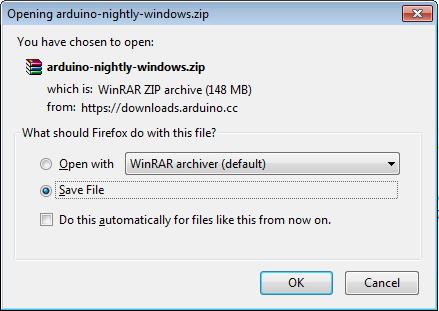 Opening Arduino Nightly Windows