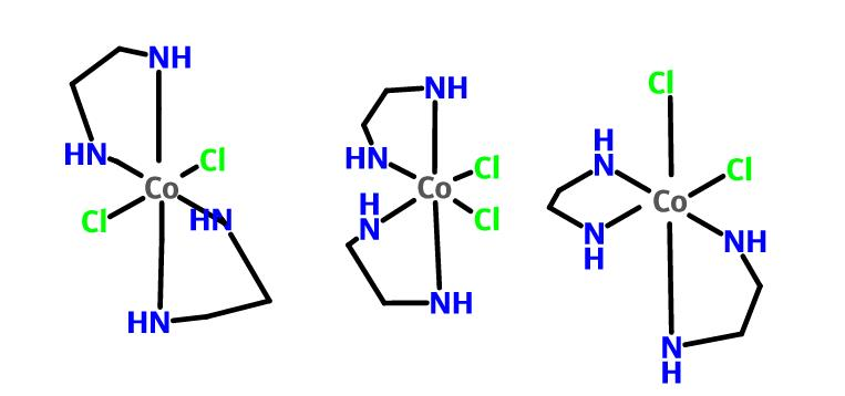 Why does dichloridobisethylenediaminecobalt(III) have only three optical  isomers? - Chemistry Stack Exchange